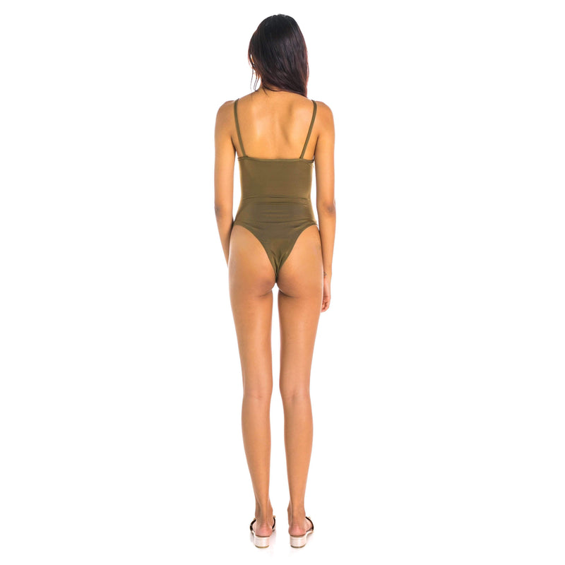 Pink N' Proper:Olive Tie-Front High-Cut Cut-Out Monokini Army Green