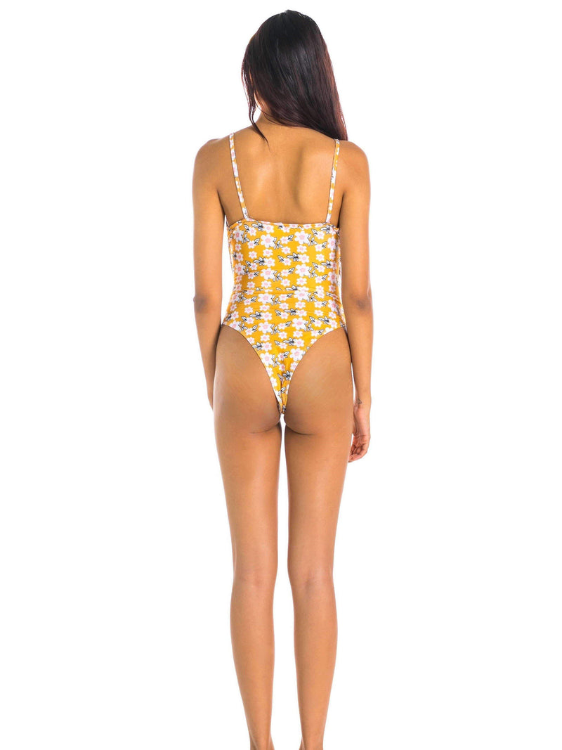 Pink N' Proper:Olive Tie-Front High-Cut Cut-Out Monokini Yellow