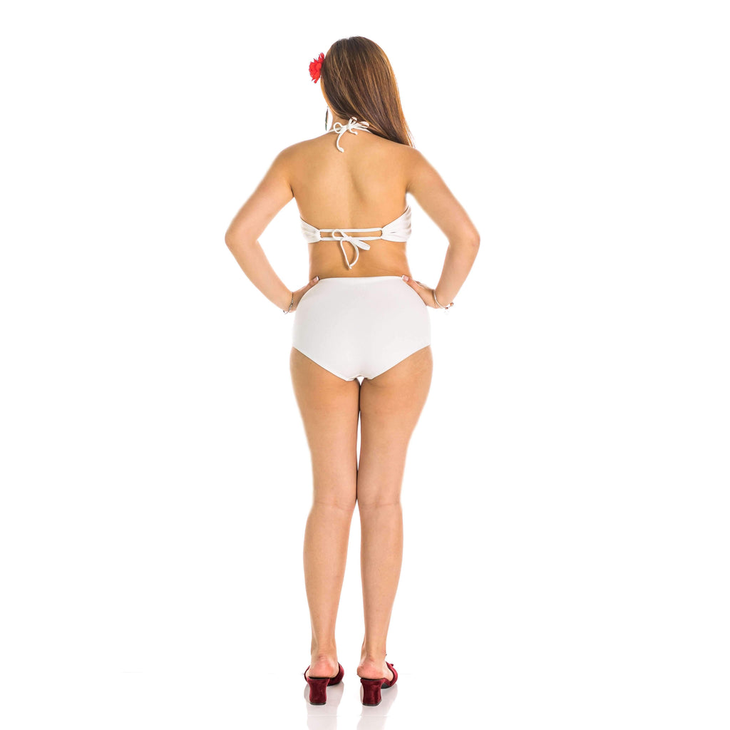 Pink N' Proper:Opulence Calithea Ribbed High-Waist Bikini Set White