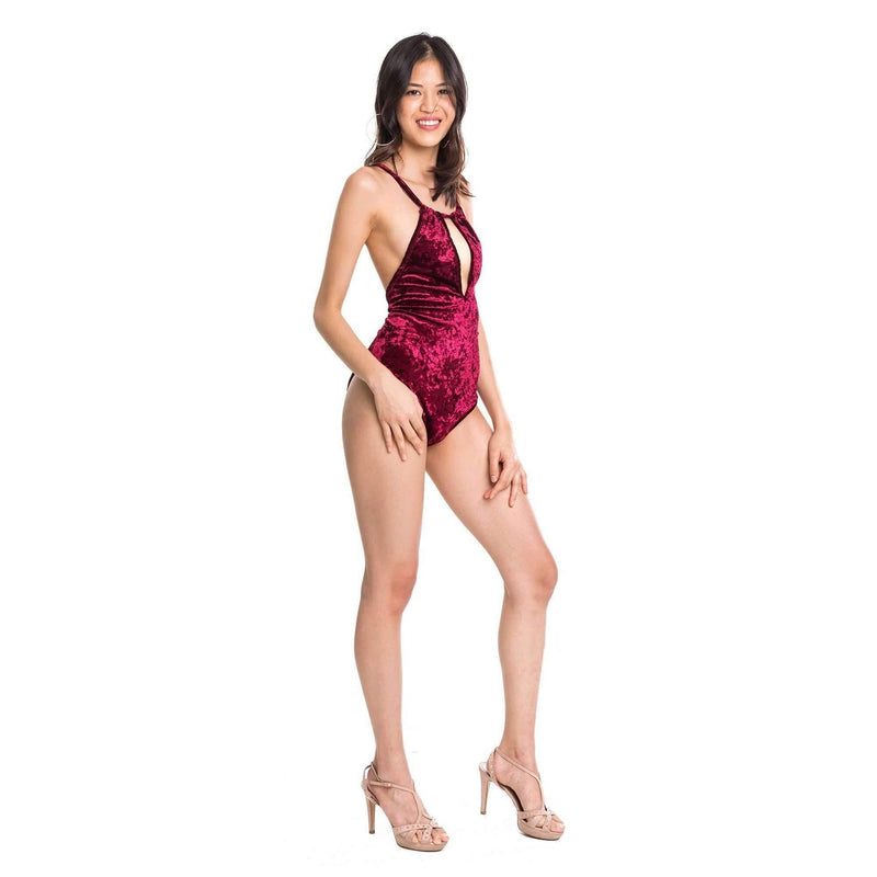 Pink N' Proper:Opulence Danya Keyhole Velvet One-Piece Swimsuit Red