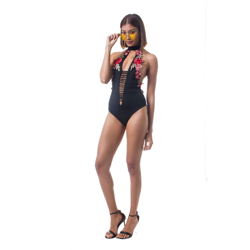 Pink N' Proper:Opulence Evita Flora Embroidered Choker Plunge Monokini