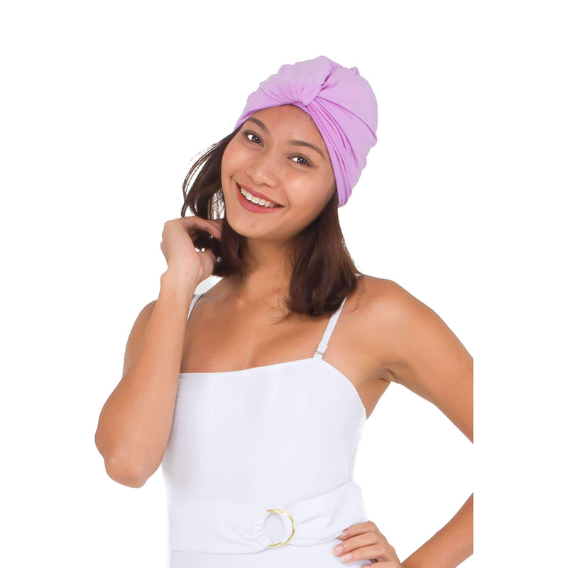 Pink N' Proper:Rhea Instant Turban Swim Cap in Lilac Purple