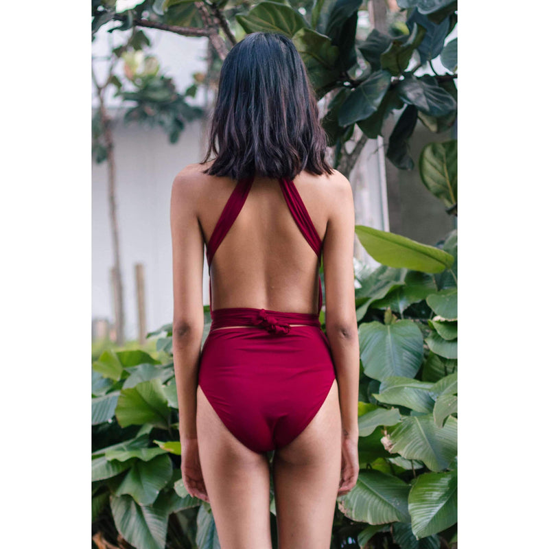 Pink N' Proper:Signature Infinity Anggun Convertible Swimsuit in Wine Red