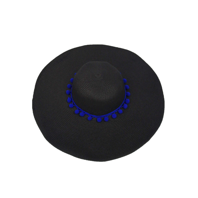 Pink N' Proper:Straw Hat in Black,Blue Pom Pom / None