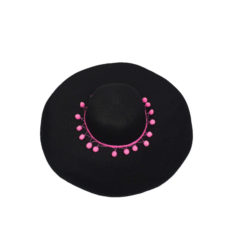 Pink N' Proper:Straw Hat in Black,Pink Pom Pom / None
