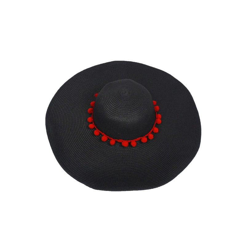 Pink N' Proper:Straw Hat in Black,Red Pom Pom / None