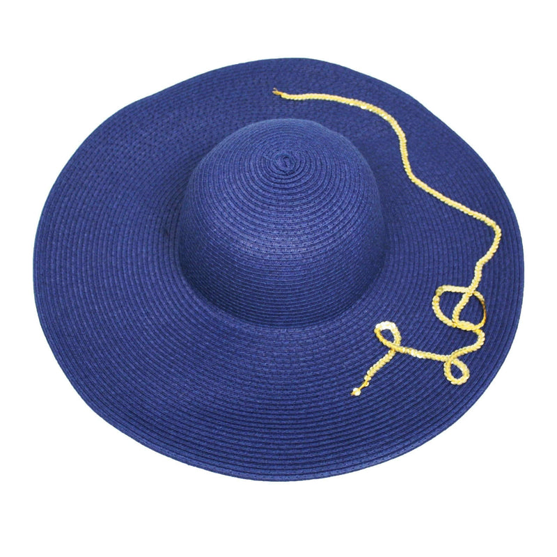 Pink N' Proper:Straw Hat in Navy,Black Pom Pom / Gold