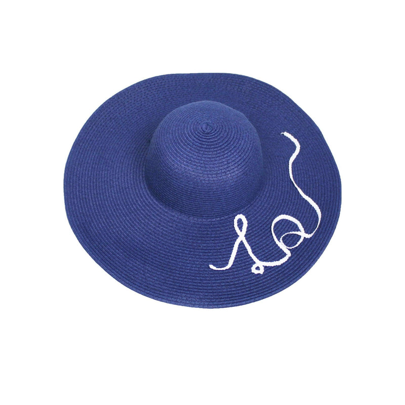 Pink N' Proper:Straw Hat in Navy,Black Pom Pom / White