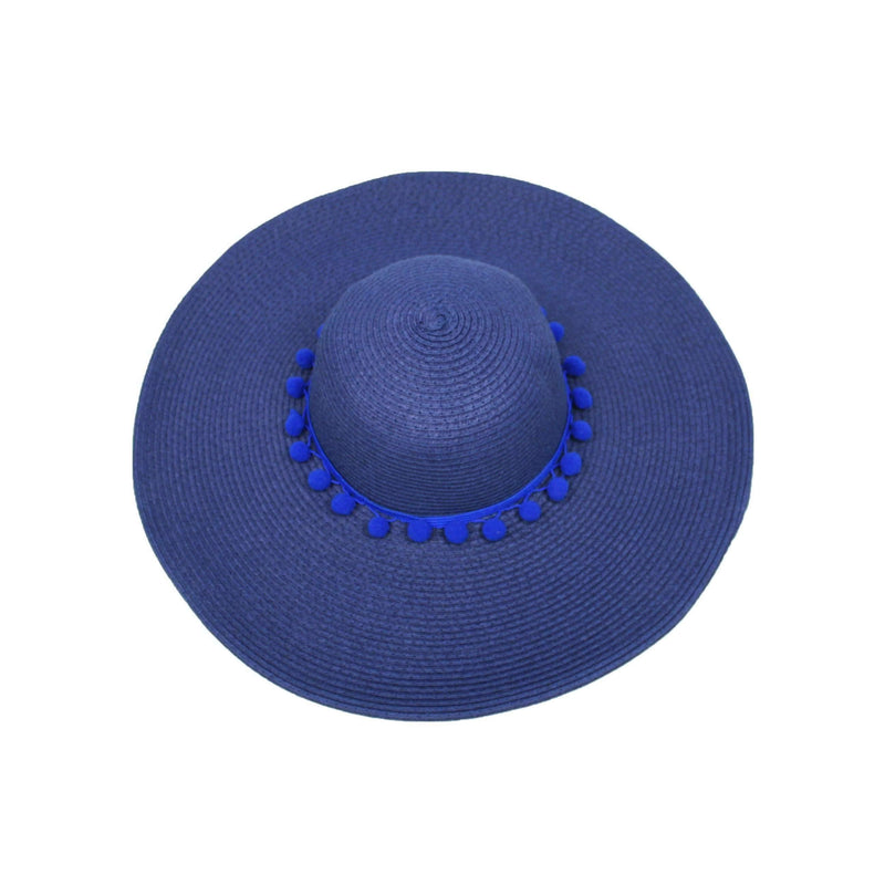 Pink N' Proper:Straw Hat in Navy,Blue Pom Pom / None