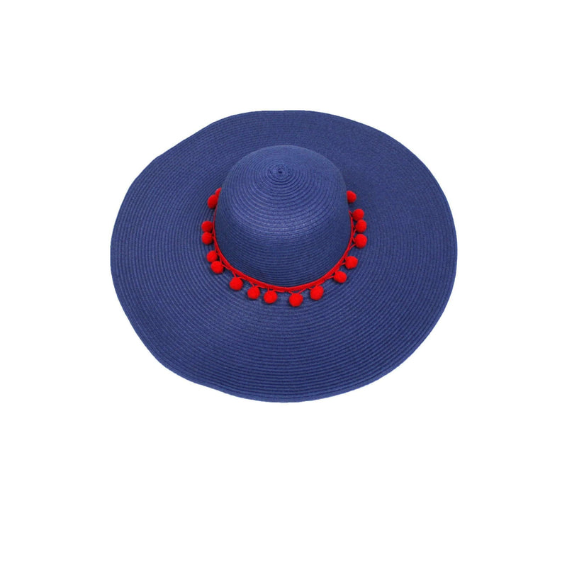 Pink N' Proper:Straw Hat in Navy,Red Pom Pom / None