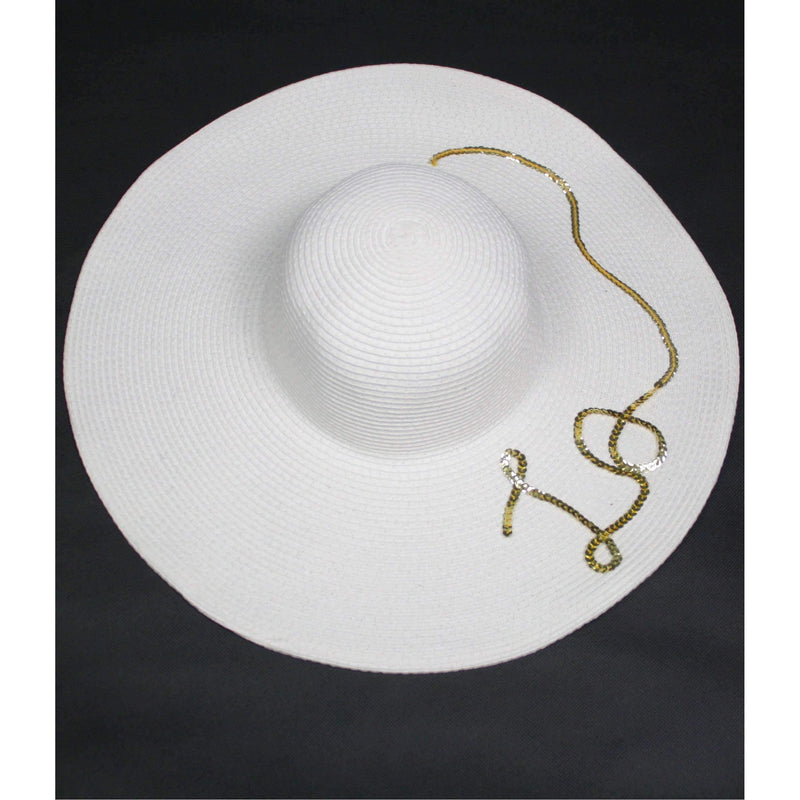 Pink N' Proper:Straw Hat in White,Black Pom Pom / Gold