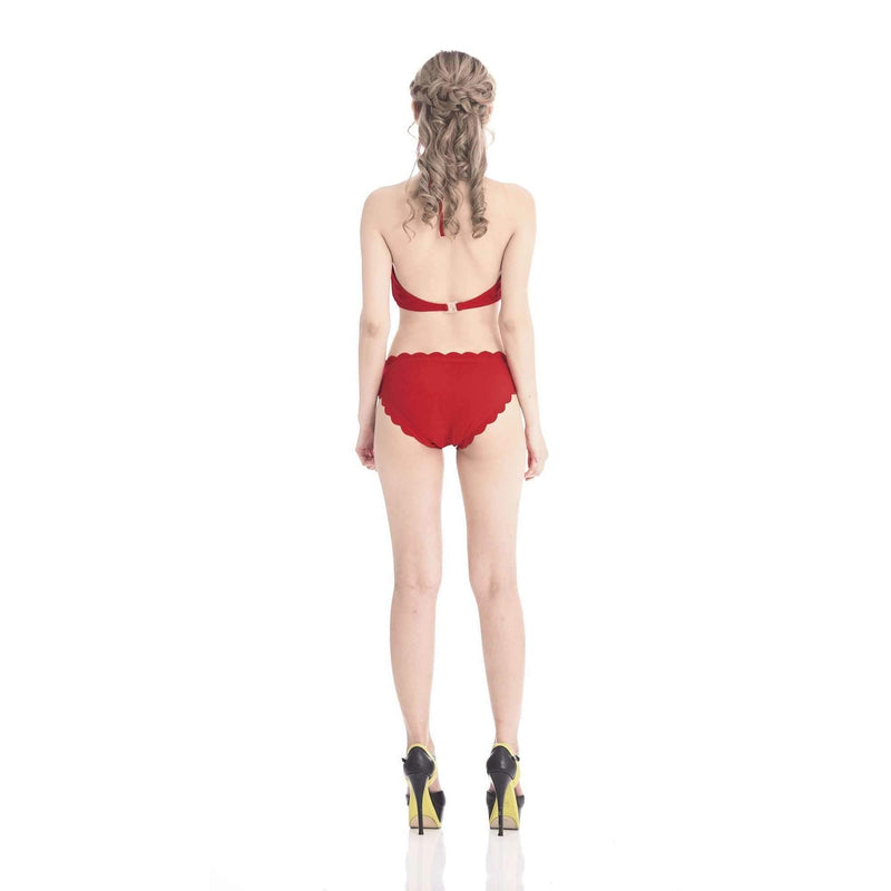 Pink N' Proper:Thalassa Scalloped Hem Three-Piece Long-Sleeved Swimsuit (Red)