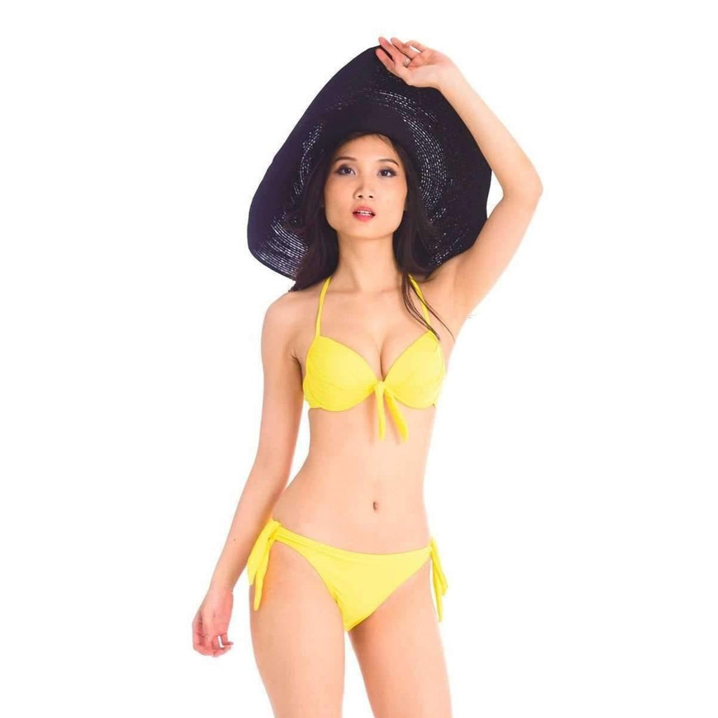 Pink N' Proper:Yellow Basic Push Up Bikini