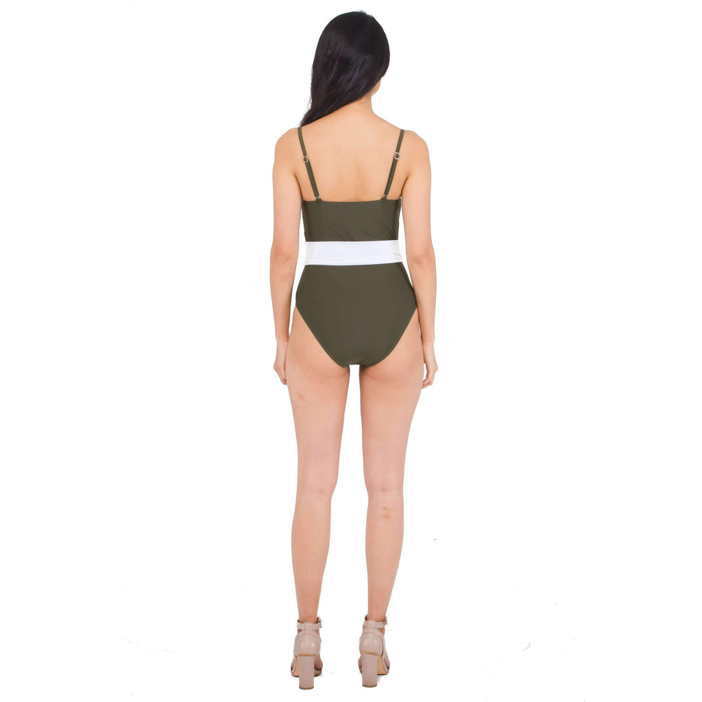 Pink N' Proper:Zeta Belted Straight Cut Swimsuit in Army Green