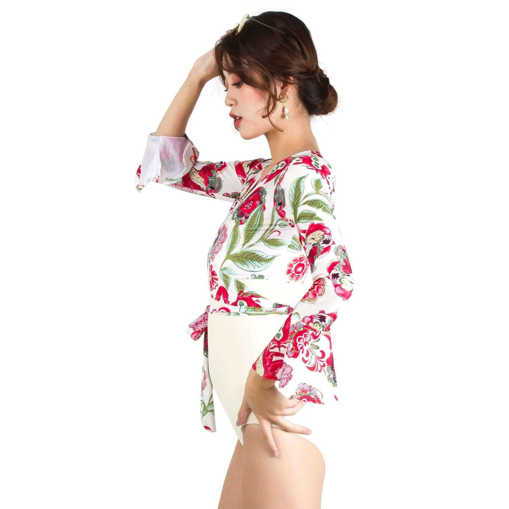 Pink N' Proper:Quinn Tie Front Long Bell Sleeve Cover Up with Straight Cut Retro Swimsuit in Cream White