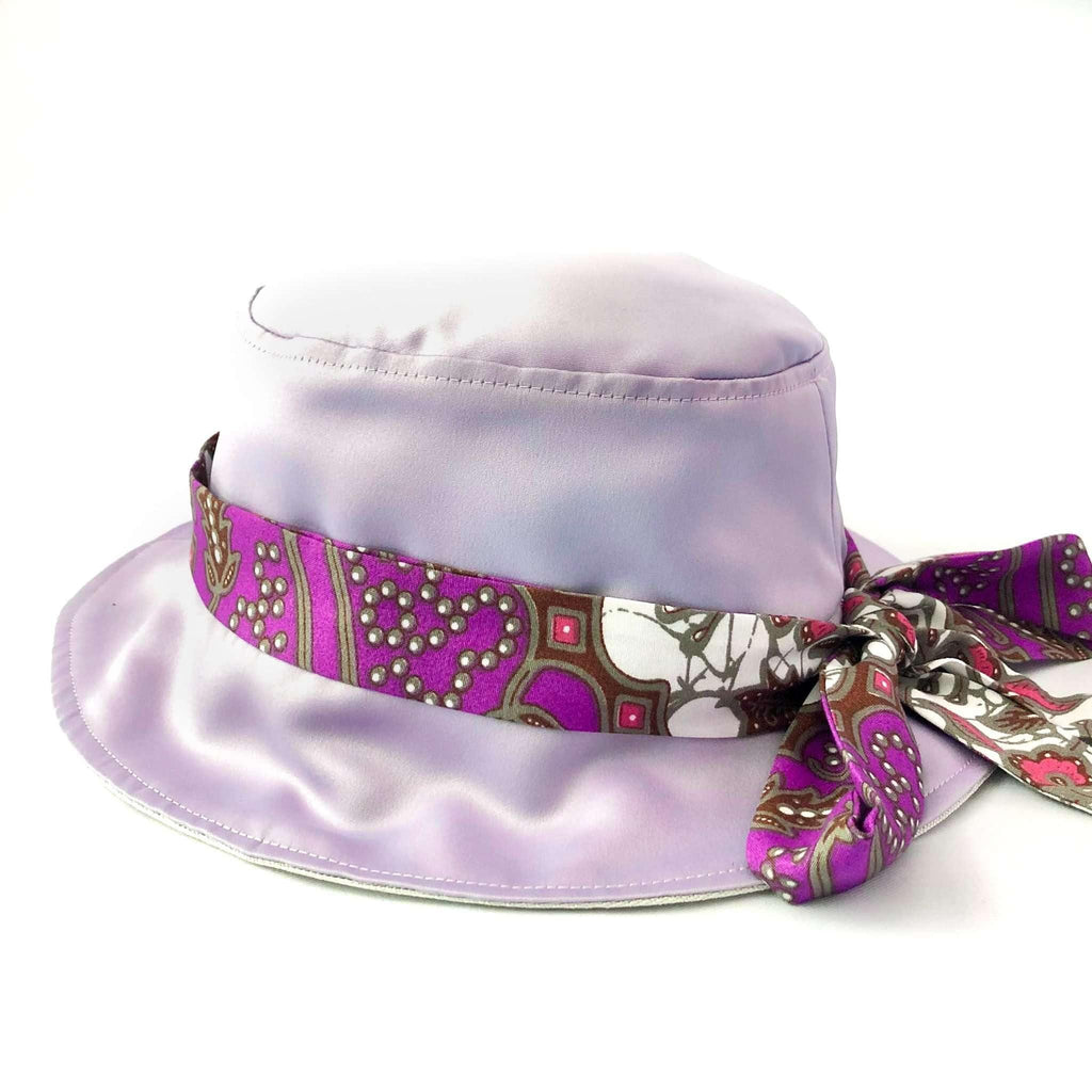 Pink N' Proper:Satin Bucket Hat in Lilac