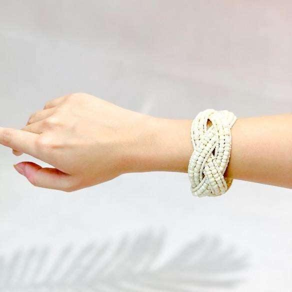 Pink N' Proper:Seven Seas Beaded Handmade Cuff Bracelet in Off White