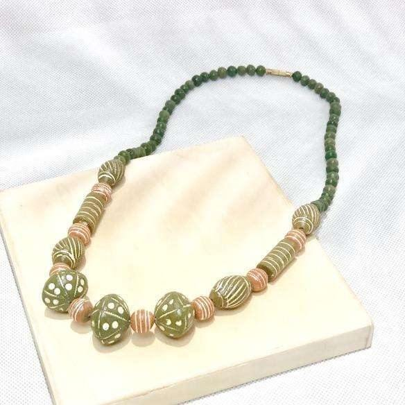 Pink N' Proper:Seven Seas Handmade Clay Necklace in Green