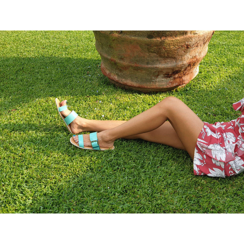 Pink N' Proper:SOFIA GREEN FLATS SYNTHETIC