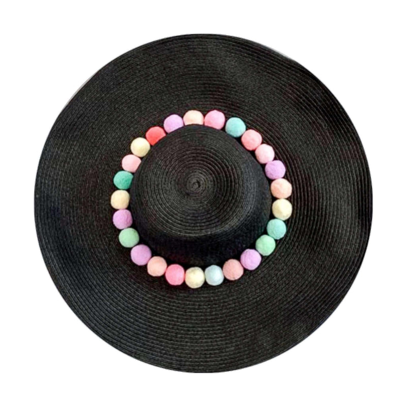 Pink N' Proper:Straw Hat in Black,Rainbow Pom Pom / None