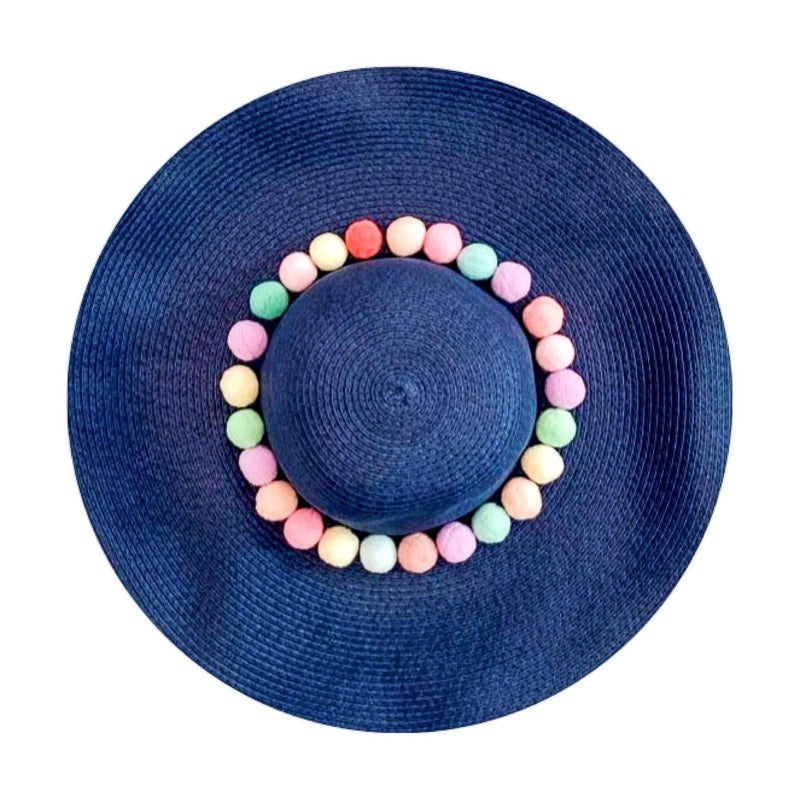 Pink N' Proper:Straw Hat in Navy,Rainbow Pom Pom / None