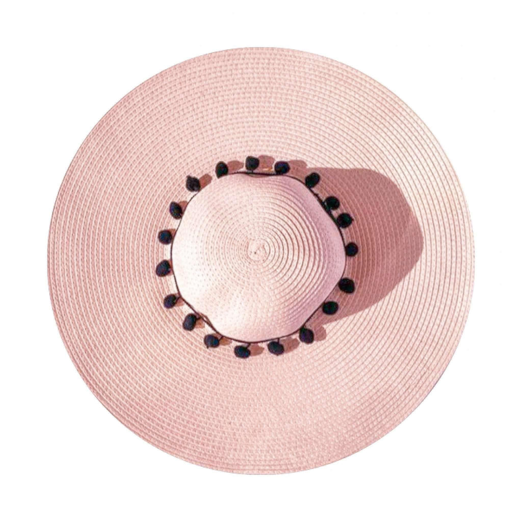 Pink N' Proper:Straw Hat in Pink,Black Pom Pom / None