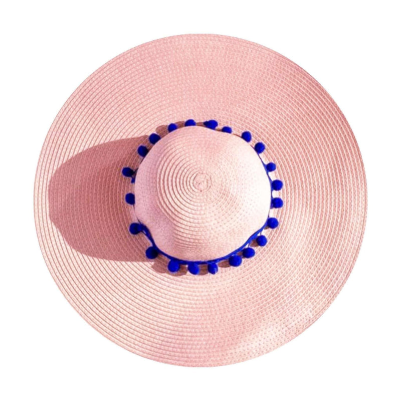 Pink N' Proper:Straw Hat in Pink,Blue Pom Pom / None