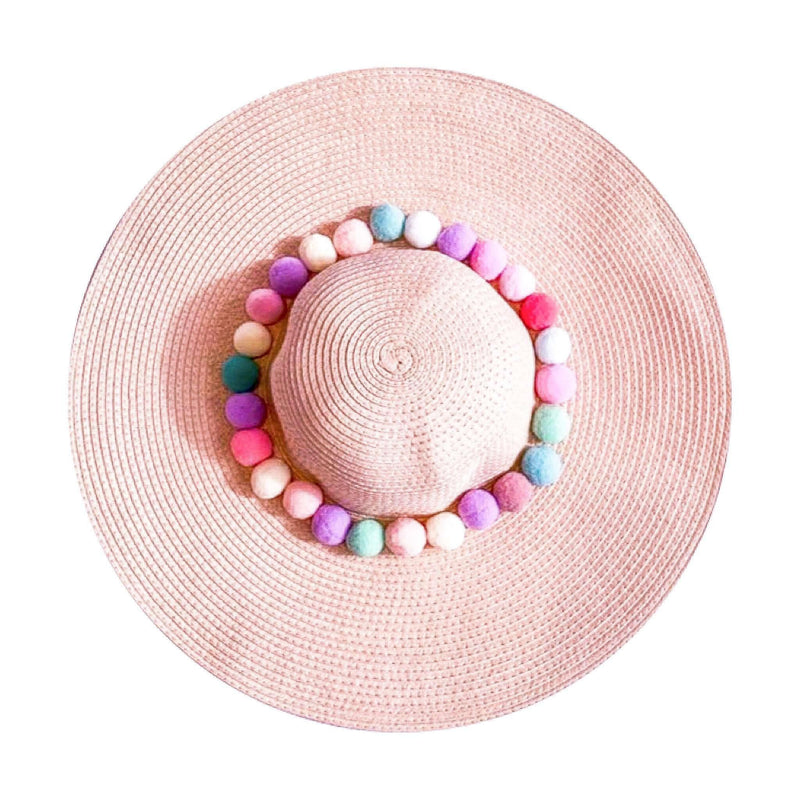 Pink N' Proper:Straw Hat in Pink,Rainbow Pom Pom / None
