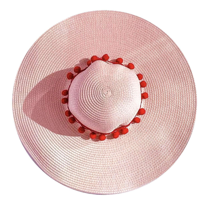Pink N' Proper:Straw Hat in Pink,Red Pom Pom / None