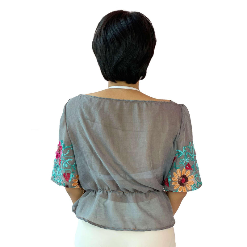 Pink N' Proper:[Upcycled] Freeda Embroidered Shawl Top Grey