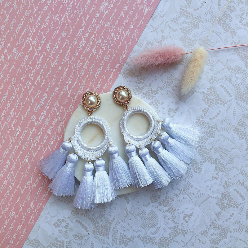 Pink N' Proper:White Abigail Earrings