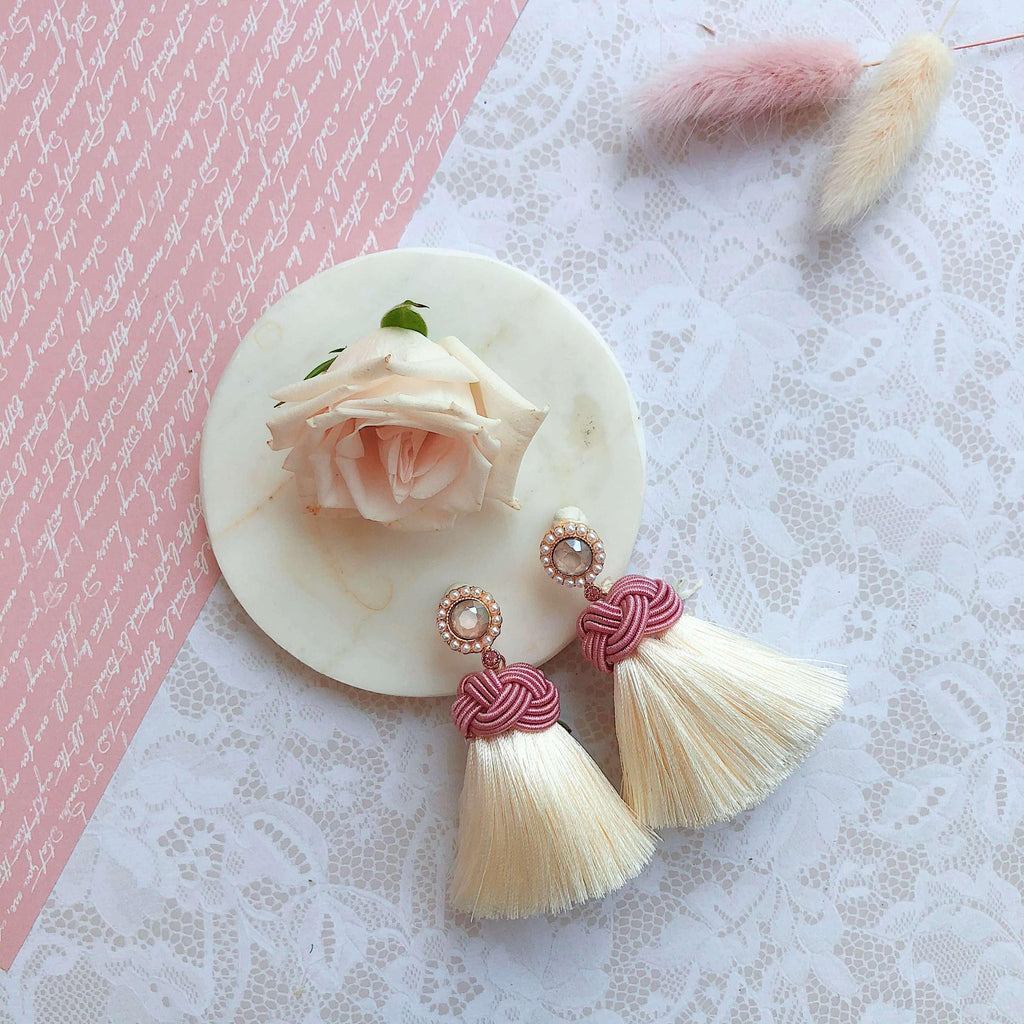 Pink N' Proper:White Amelia Earrings