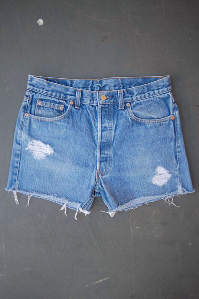 Vintage Levi's 501 USA Feathered Cutoff Denim Shorts