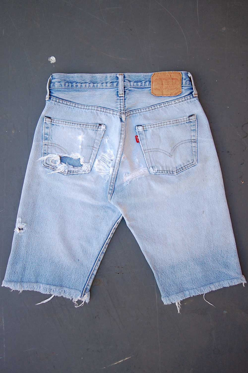 Vintage Levi's 501 Redline Selvedge USA Feathered Cutoff Long Denim Shorts