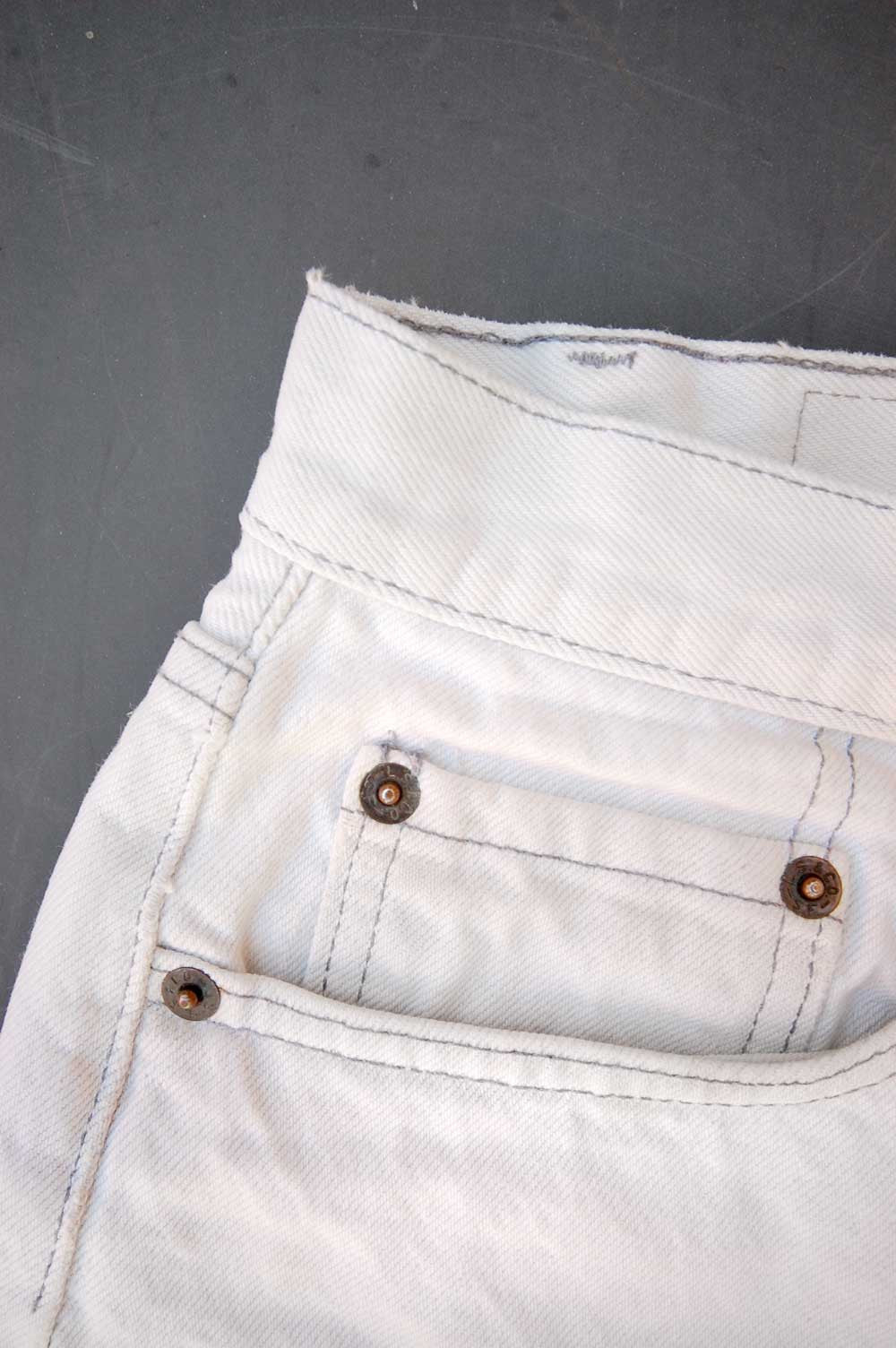 Vintage Levi's 501 USA Transitional Cutoff White Denim Shorts