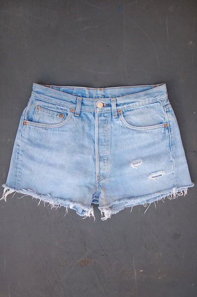 Vintage Levi's 501 USA Transitional Feathered Cutoff Denim Shorts