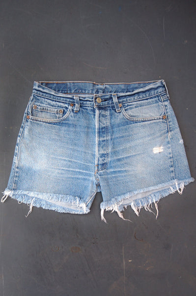 Vintage Levi's 501 Redline Selvedge USA Whiskered Cutoff Denim Shorts