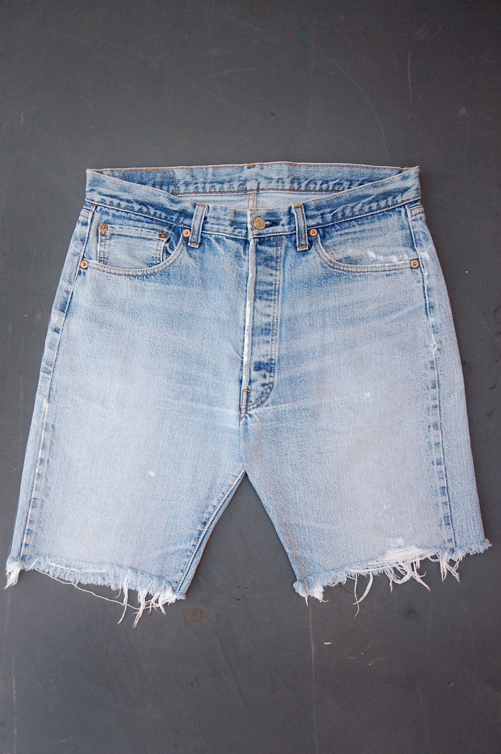 "Vintage Levi's 501 ""Big E"" Single-Stitch Redline Selvedge USA Long Cutoff Denim Shorts"