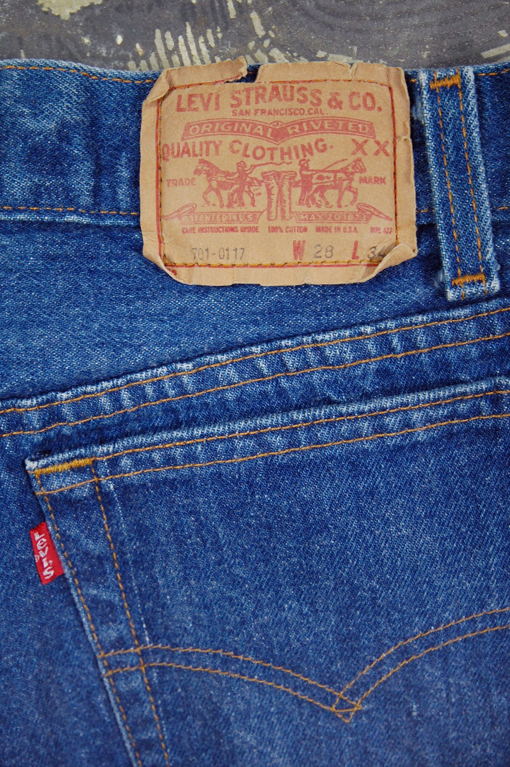 Vintage Levi's 701 Student Fit USA Transitional One Wash Denim Jeans