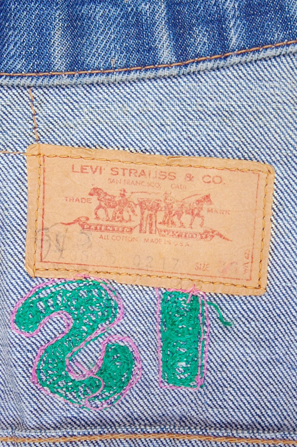 Vintage Levi's 2-Pocket USA Chain-Stitched Hollywood Collection Trucker Denim Jacket