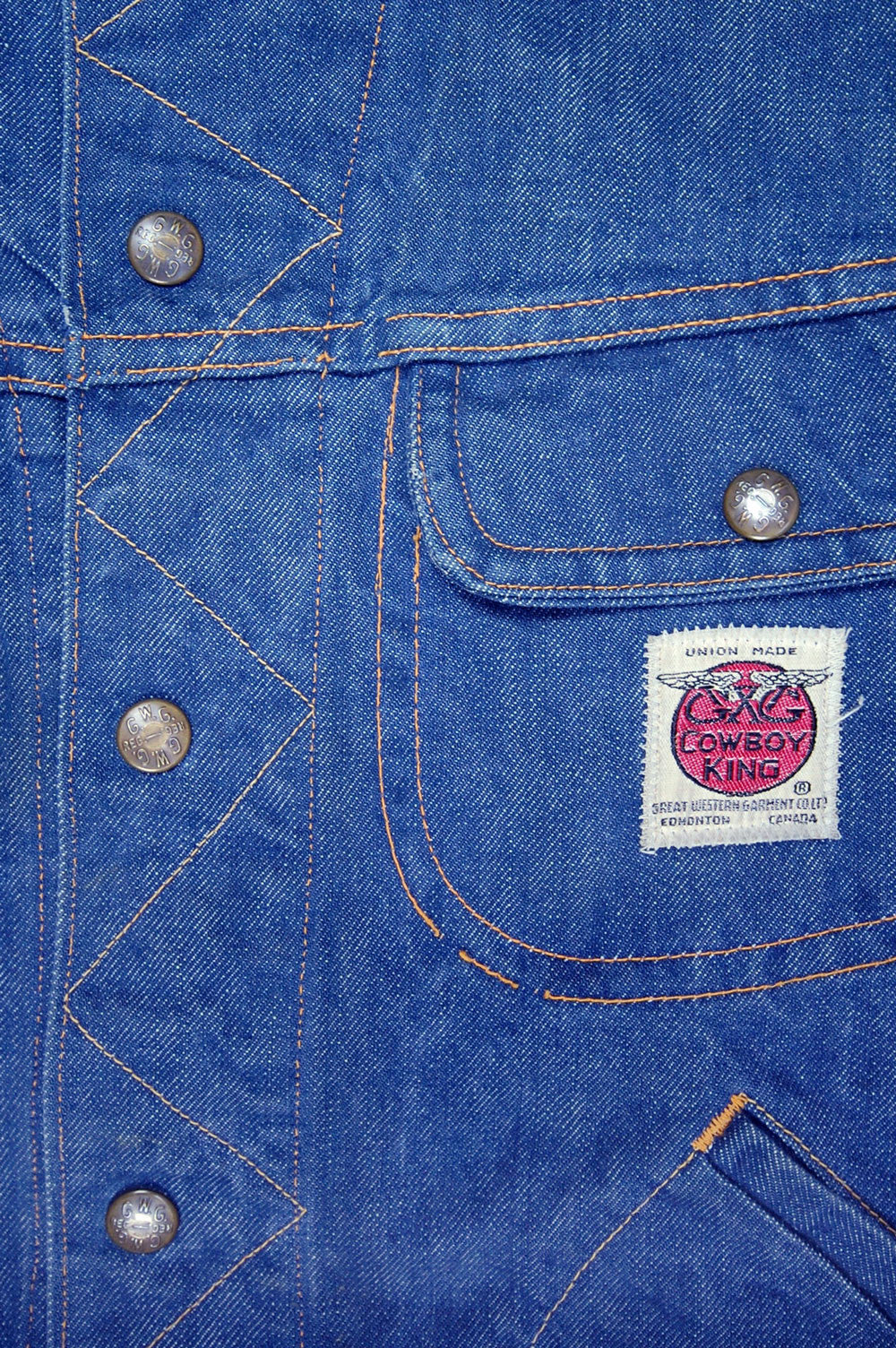 Vintage Cowboy King By Great Western Garment Company 4-Pocket Chain-Stitched GWG Logo Sanforized Denim Jacket