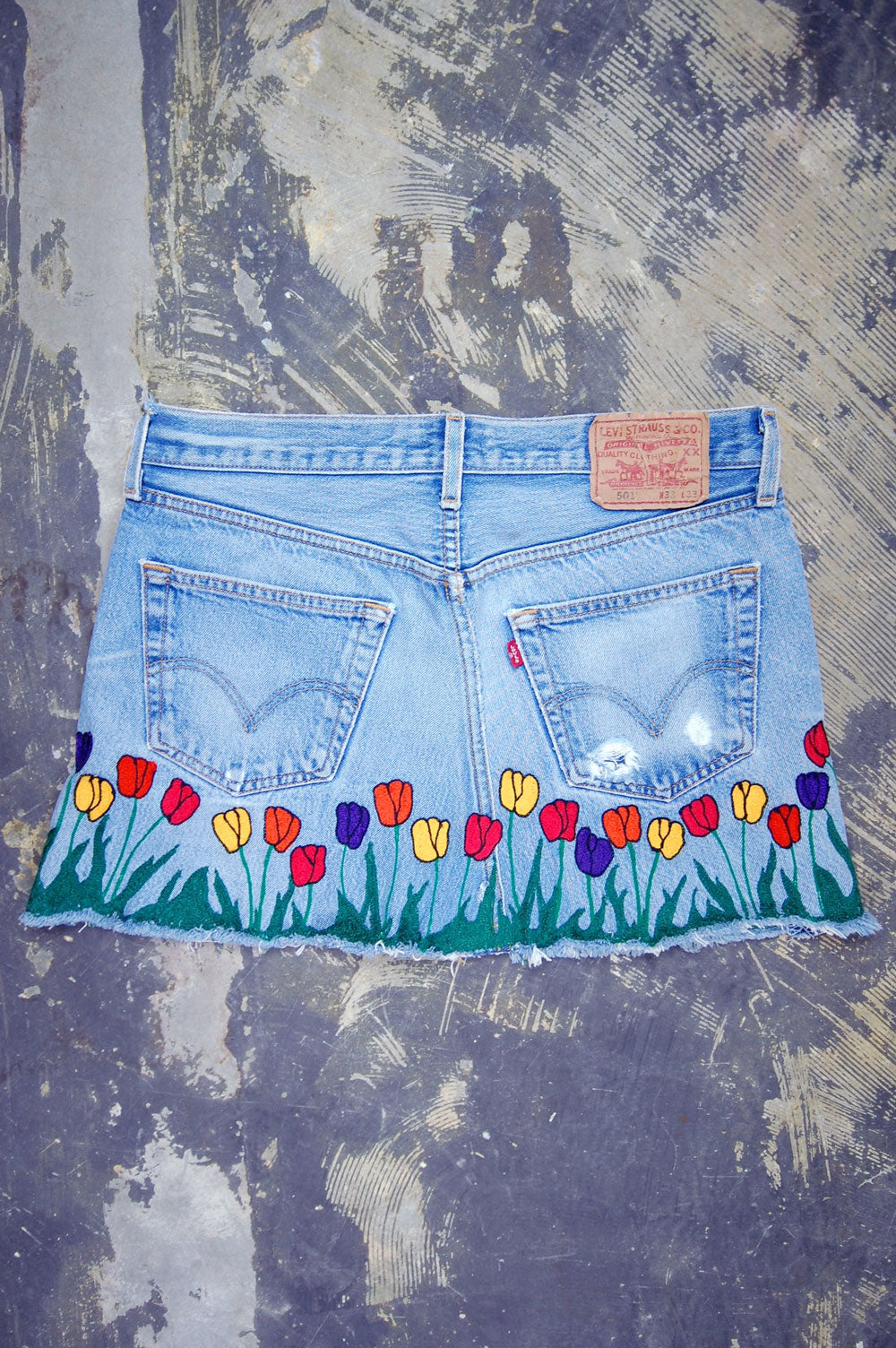 Vintage Levi's 501 Chain-Stitched All-Over Tulips Artwork Denim Skirt