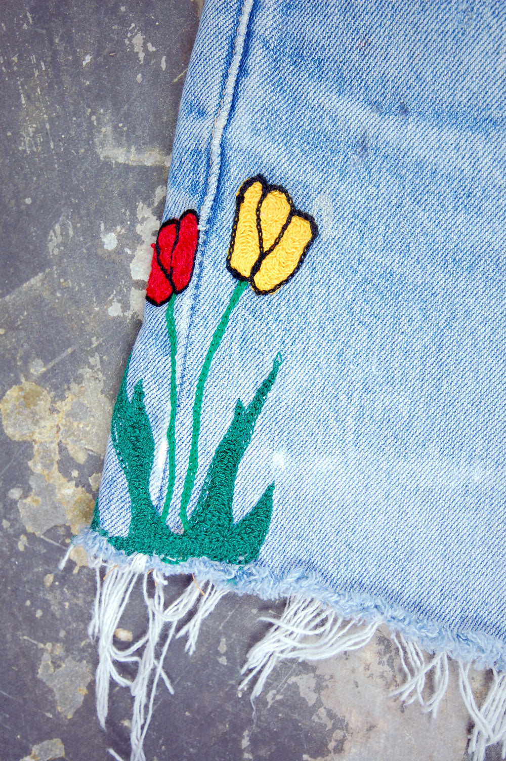 Vintage Levi's 501xx Chain-Stitched Tulips Artwork Denim Skirt