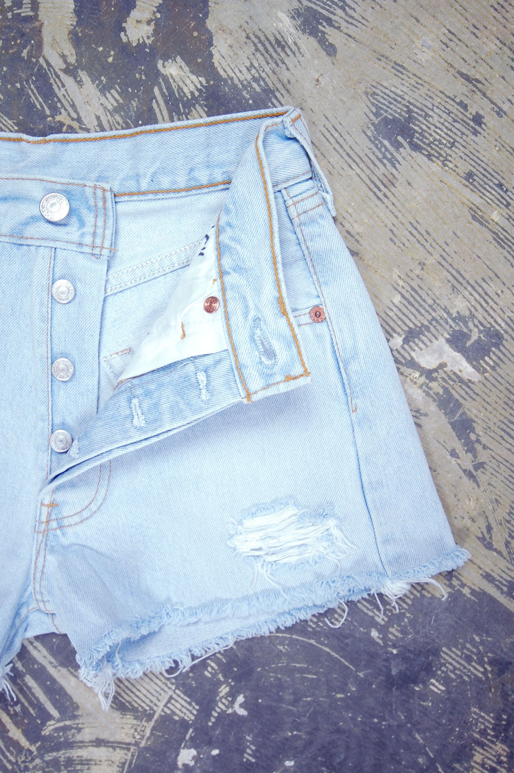 Vintage Levi's 501 Chain-Stitched Tulips Artwork Feathered Cutoff Denim Shorts