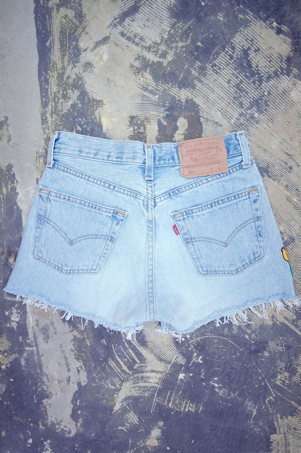 Vintage Levi's 501 Chain-Stitched Tulips Artwork Cutoff Denim Shorts