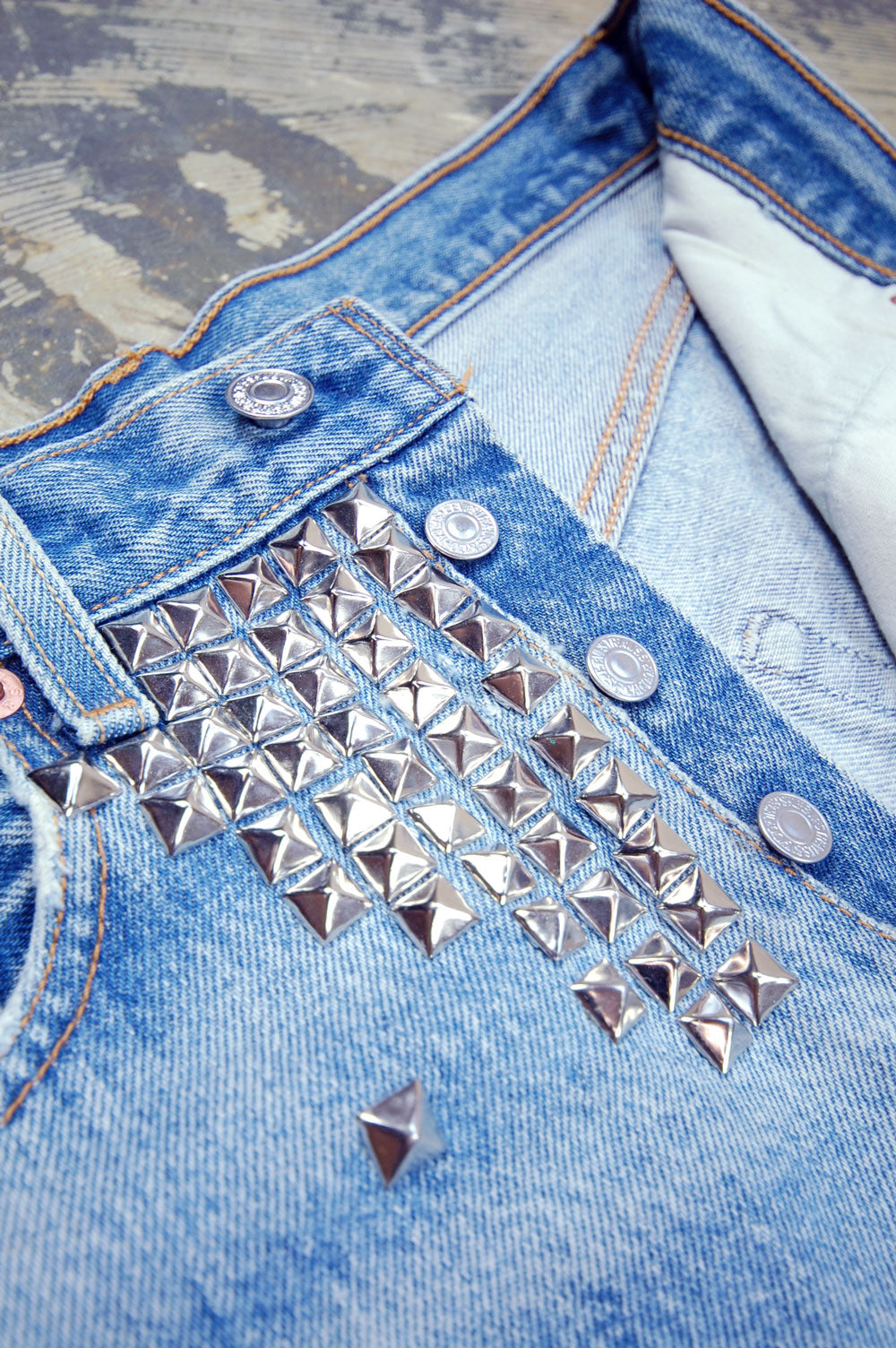 Vintage Levi's 501xx Custom Studded Whiskered Cutoff Denim Shorts