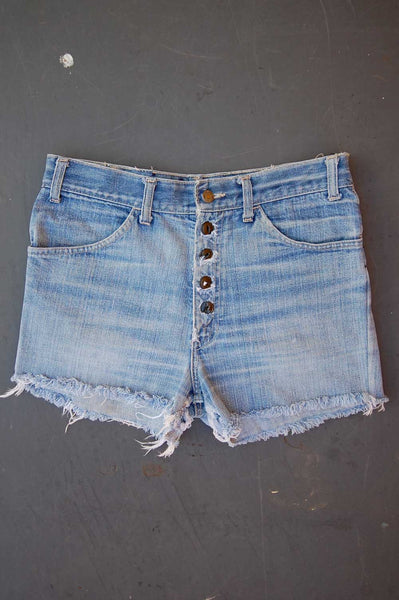 "Vintage Levi's Single-Stitch USA Orange Tab ""DIRTY BIRT"" Embroidered Cutoff Denim Shorts"