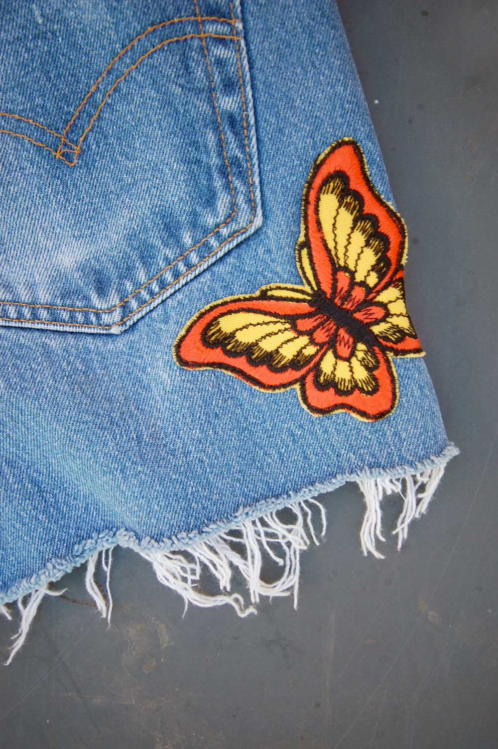 Vintage Levi's 501xx USA Butterfly Patch Feathered Cutoff Denim Shorts