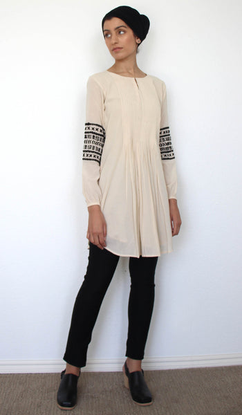Hadiza Embroidered Cotton Modest Tunic - Cream