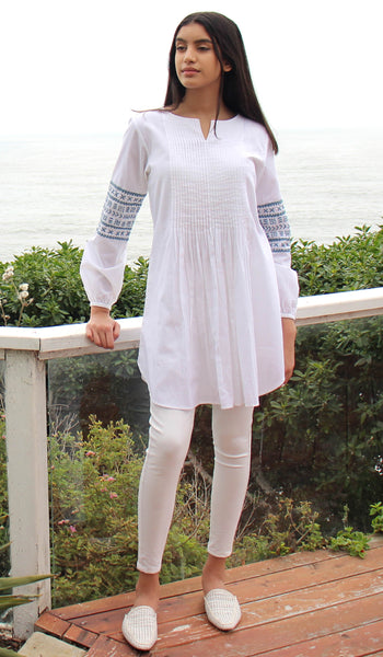 Hadiza Embroidered Cotton Modest Tunic - White